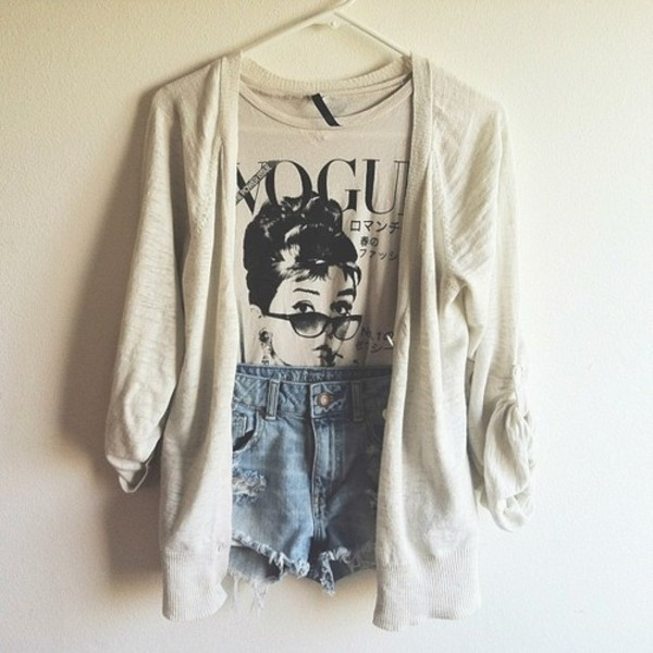sweater white vogue jeans shirt shorts cardigan blouse tank top fashion girly pretty stylish beige audrey hepburn