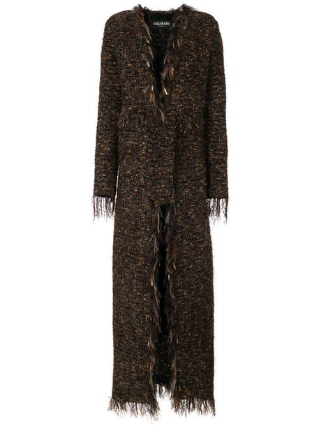 Balmain coat long women mohair cotton brown