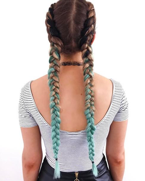 Hair Accessory Tumblr Hair Hairstyles Ombre Hair Braid Blue