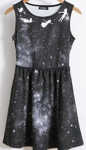 black,peter pan,neverland,disney,dress,galaxy dress