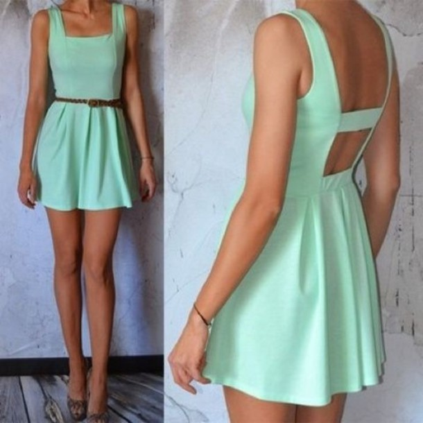 dress cut out dress mint
