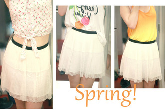 clothes shirt white skirt cherry gradient orange
