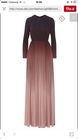 dress maxi dress ombre burgundy pastel long sleeve dress high neck