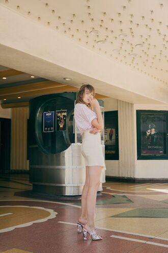 shoes tumblr mules high heels heels skirt mini skirt white skirt t-shirt stripes striped t-shirt