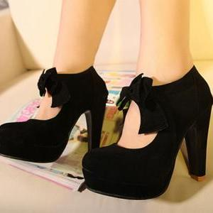 Free Shipping Fashion Bow Waterproof Thick High Heel Shoes For Lady on Luulla