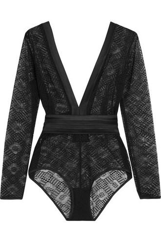 bodysuit lace bodysuit lace black silk satin underwear
