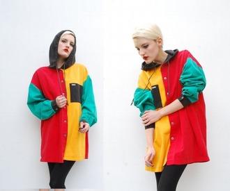 jacket 90s style colorblock multicolor windbreaker