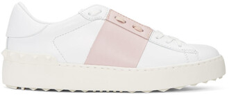 open sneakers white pink shoes