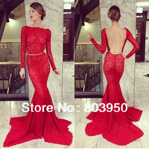 2d2ab632e Aliexpress.com   Buy Luxury Long Sleeve Prom Dress Sexy Backless Vestido De  Festa Red Lace Mermaid ...