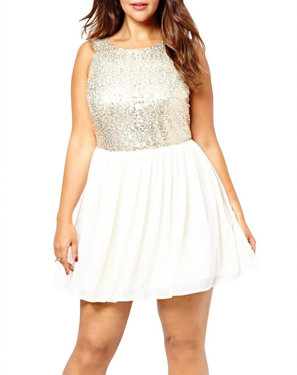 Romanse women's white embellished sequin crop top chiffon skater dress at amazon women's clothing store: