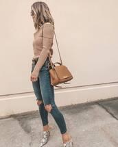 bag,shoulder bag,jeans,ripped jeans,skinny jeans,mules,sweater,off the shoulder,sunglasses