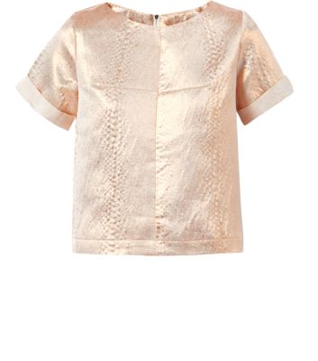 Fashion Union Bronze Metallic Textured Top