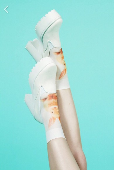 shoes platform shoes socks clothes white bunny