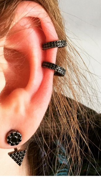 jewels black diamond rhinestone earring ear cuff jacket circle triangle touround help please coat hat jacket dress blouse