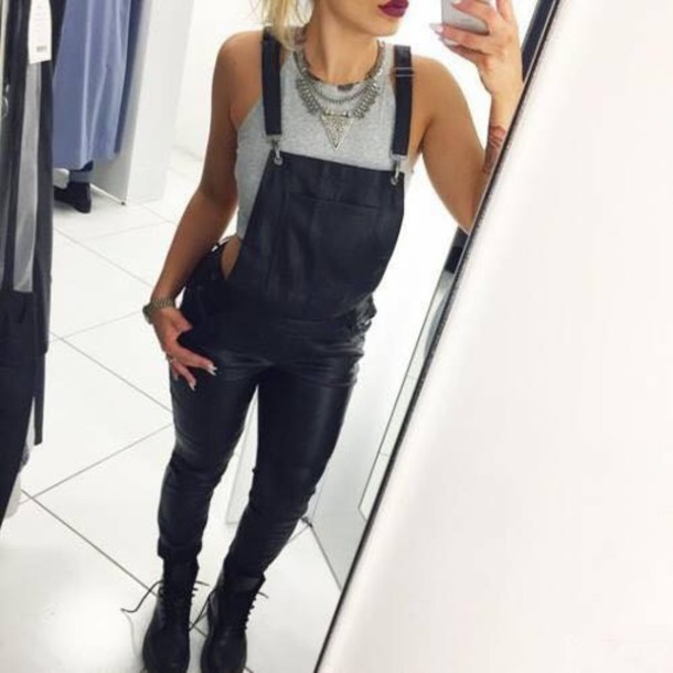 jeans jumpsuit on point clothing dungarees overalls leather black leather statement necklace necklace jewels halter top crop tops boots swag dope gorgeous women fashionista fashionista halter crop top black leather overall