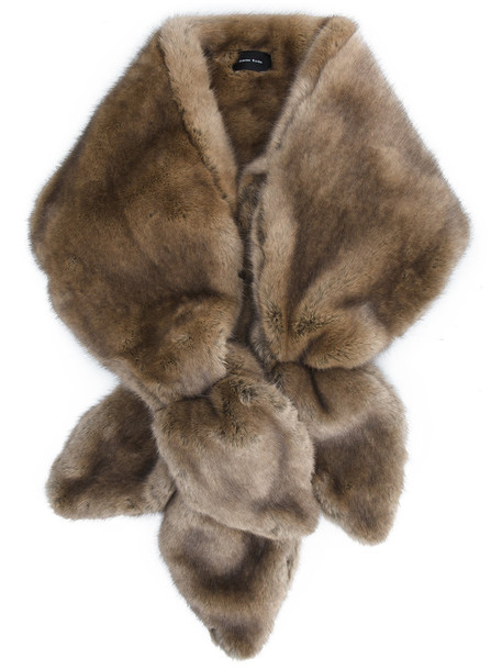 bow fur faux fur women scarf fur scarf brown