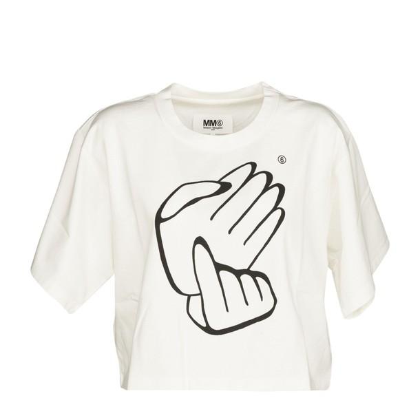 Mm6 Maison Margiela t-shirt shirt cropped t-shirt t-shirt cropped white top
