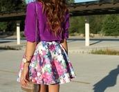 dress,blouse,skirt,clothes,floral,mini skirt,flower skirt,clutch,watch,cardigan,floral skirt,floral skater skirt,cute skirt,ariana grande