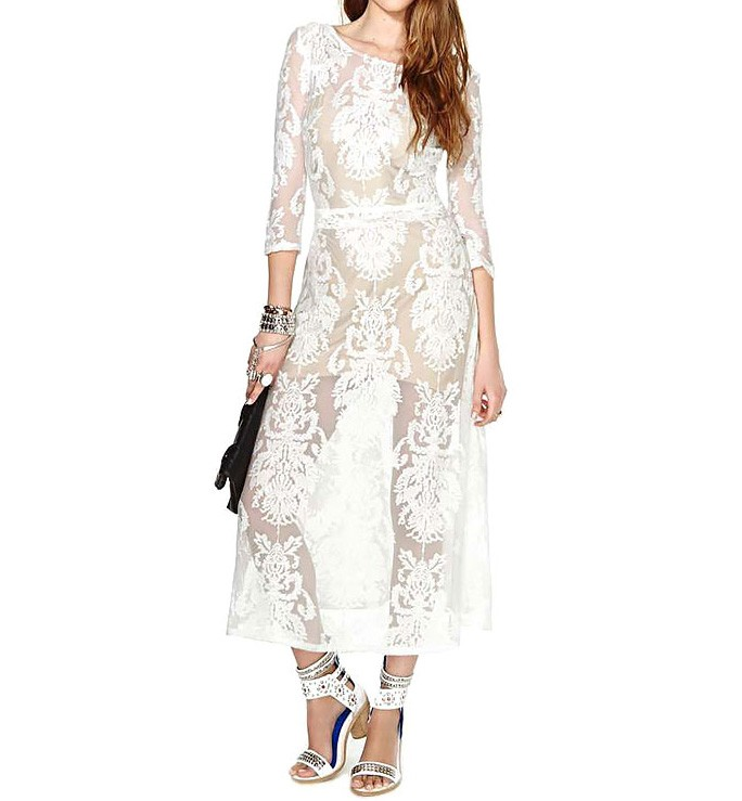 Plunge Back Embroidered Mesh Dress