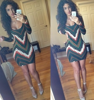 dress tribal pattern green orange black white nude heels curly hair iphone bodycon bodycon dress zig zag fashion shoes