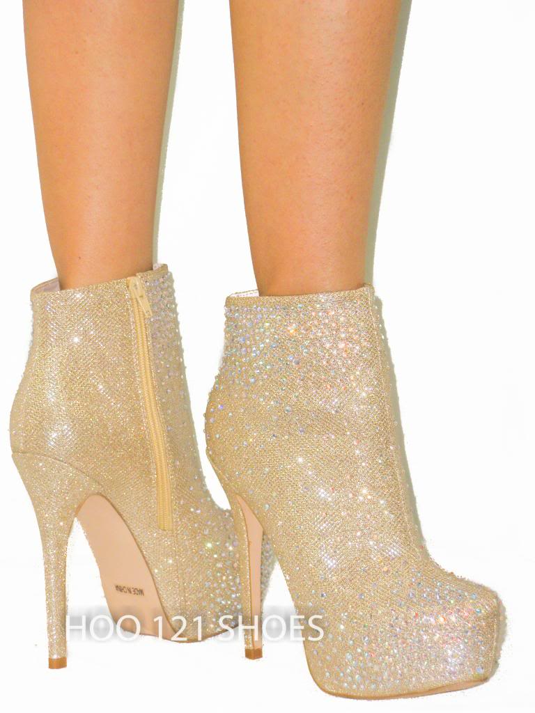 Gold Booties Heels - Is Heel
