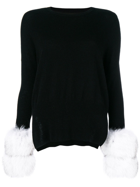 sweater fur fox women black