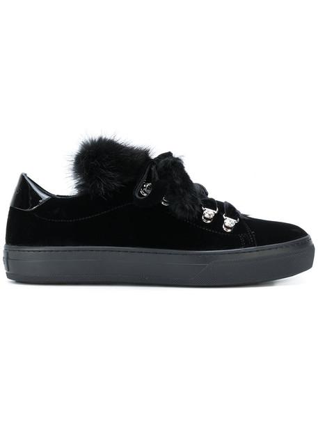 fur women sneakers leather black velvet shoes