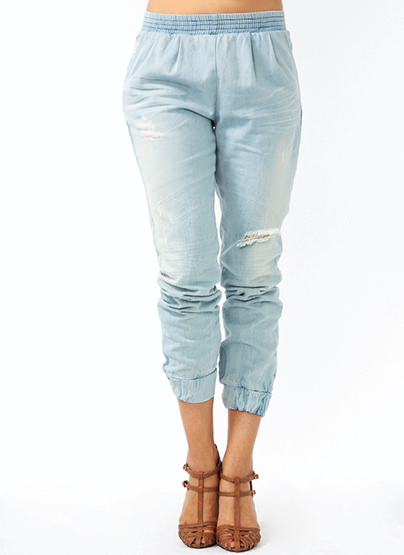 GJ | Distressed Denim Sweatpants $52.70 in LTBLUE - Long Pants | GoJane.com