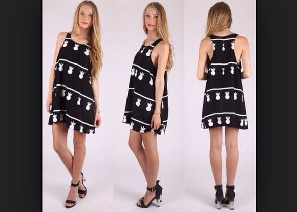 dress black and white pineapple dress pineapple pineapple print pineapple pattern black and white striped dress tropical dress short dress sleeveless dress