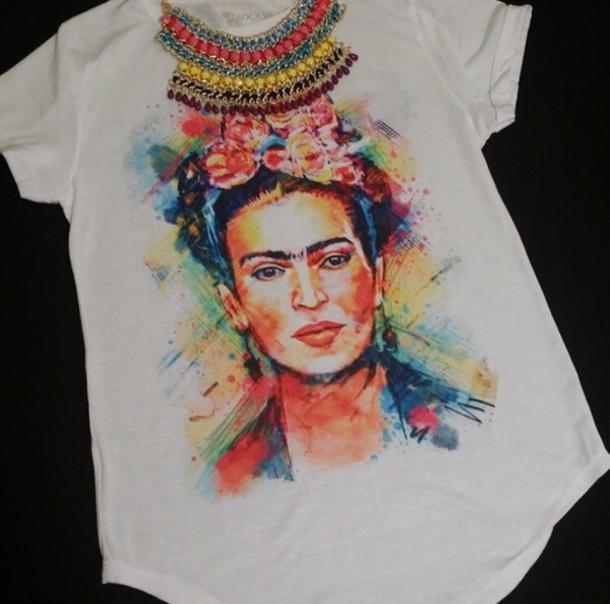 blouse feida kahlo white colorful flowers t-shirt shirt fashion foral