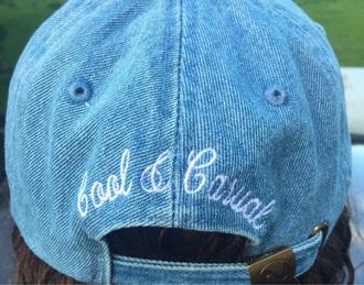 hat 90s style cool urban style denim blue summer fashion fashion vibe retro