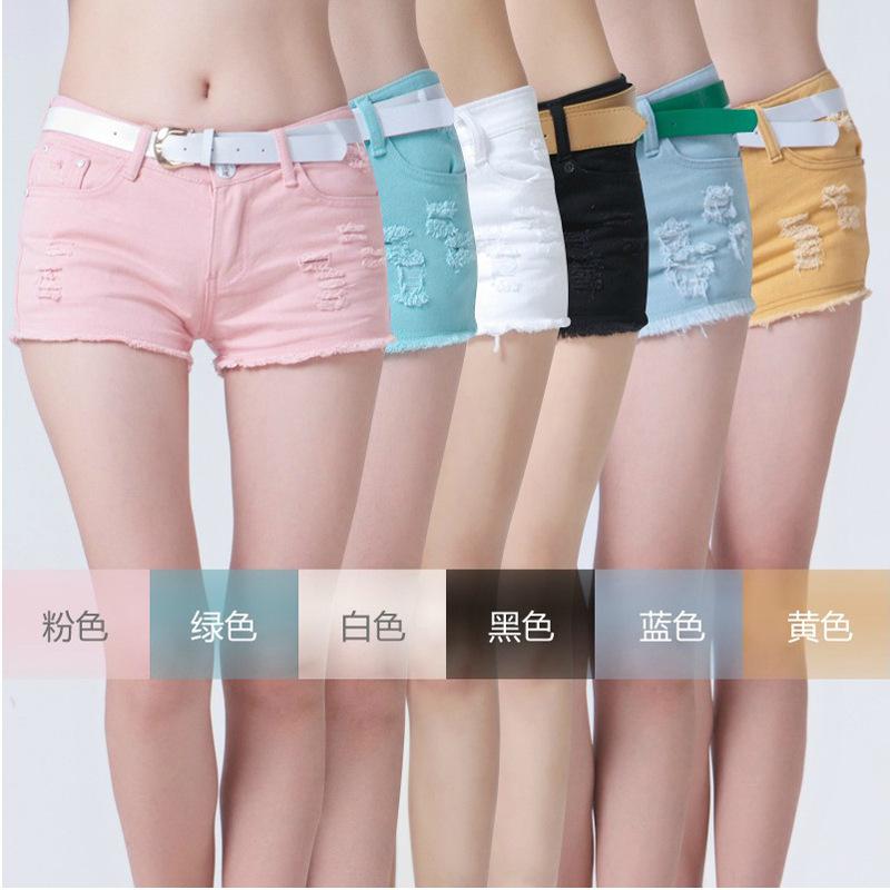 Versandkostenfrei 2014 neue Frühjahr frauen wilden loch farbe baumwolle denim hot pants, mode shorts, sommer