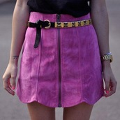 skirt,suede,high waisted,fuchsia,pink,gold,belt,zip,pink suede skirt