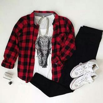 blouse shirt belt jeans