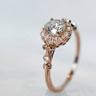 jewels vintage gold ring vintage ring vintage ring vintage jewelry diamonds gold rose gold cute pretty beautiful wedding ring engagement ring hippie boho indie art