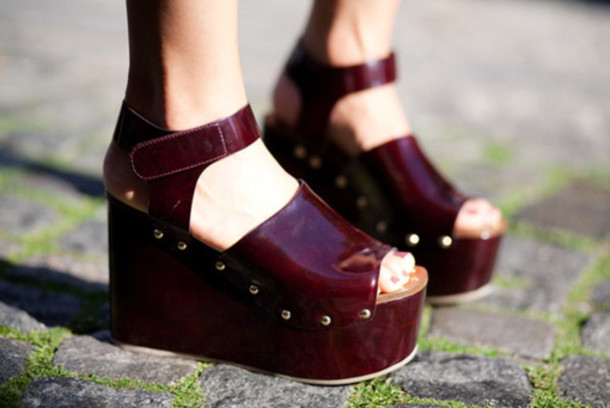 shoes burgundy sandals platform shoes ankle strap