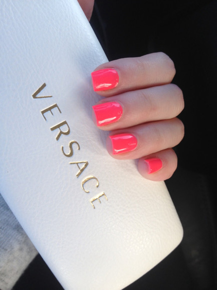 neon coral pink neon pink nail polish neon nail polish neon nail polish light pink nails pink nailpolish pink nail polish neon coral neon color neon colors girly versace