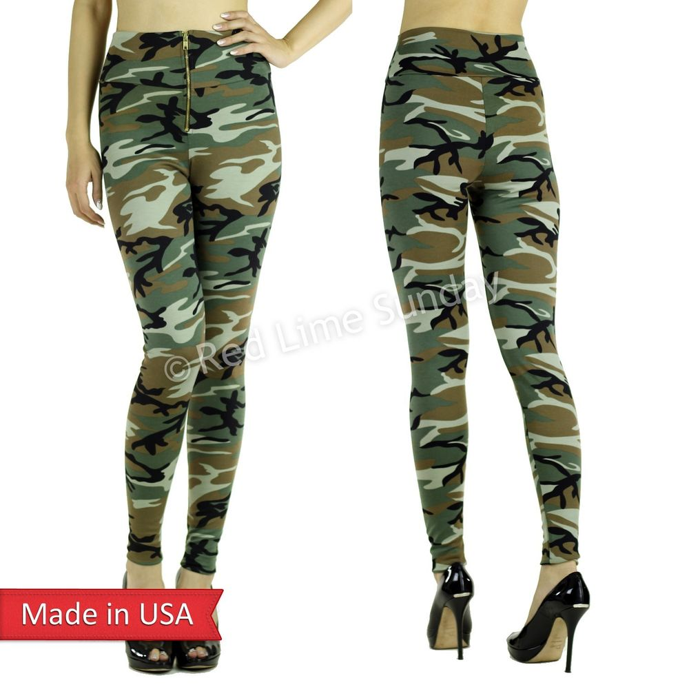 Army Green Camo Camouflage Ponte Knit Zipper High Waist Leggings Tights Pants US