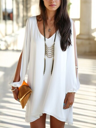 dress white dress chiffon sleeves fashion summer cool