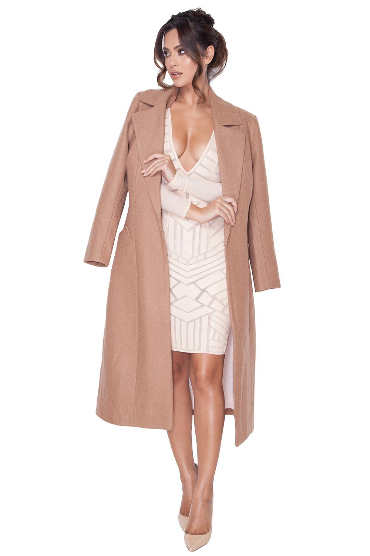 Clothing : Jackets : 'Milya' Camel Wool Mix Coat