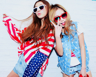sweater nail polish shorts american flag usa flag red denim jacket sunglasses brunette blonde hair