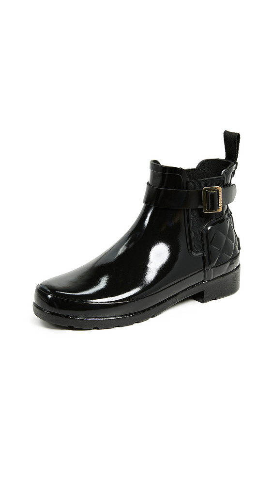 Hunter Boots Refined Gloss Quilt Chelsea Boots in black