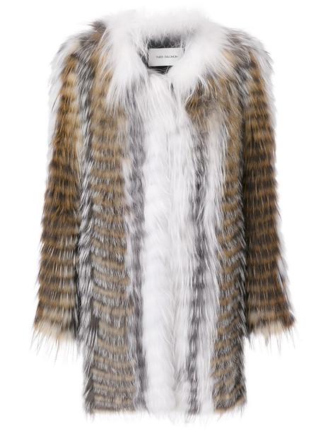 Yves Salomon coat oversized coat oversized fur fox women spandex cotton grey