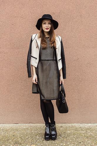 iemmafashion blogger dress hat mesh leather jacket