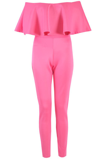 Brooklin Off The Shoulder Ruffle Jumpsuit In Fuschia - Pop Couture