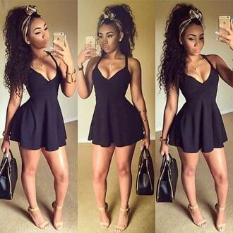 dress black dress black v neck summer dress sundress cute short dress