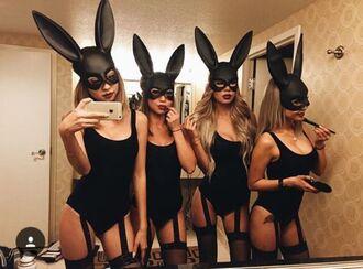 swimwear garter bunny ears halloween halloween costume one piece bodysuit garter belt tumblr pinterest outfit
