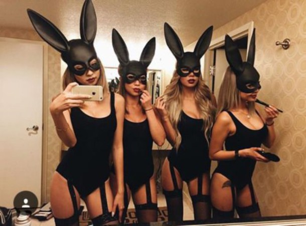 garter bunny ears halloween halloween costume one piece bodysuit garter belt tumblr pinterest outfit black wheretoget