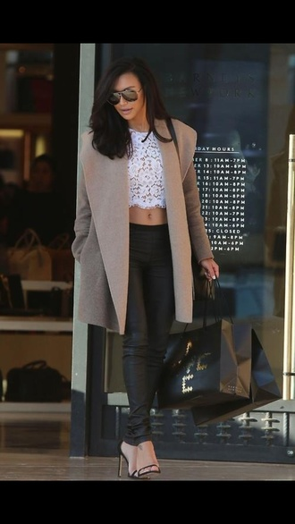 jacket naya rivera jacket leather pants blouse pants shoes sunglasses