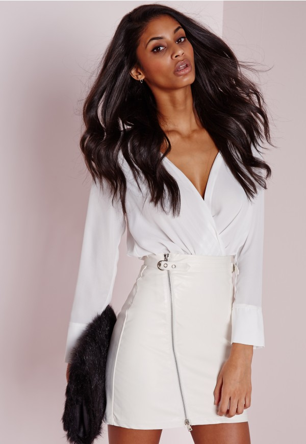 Faux Leather Buckle Zip A Line Skirt White